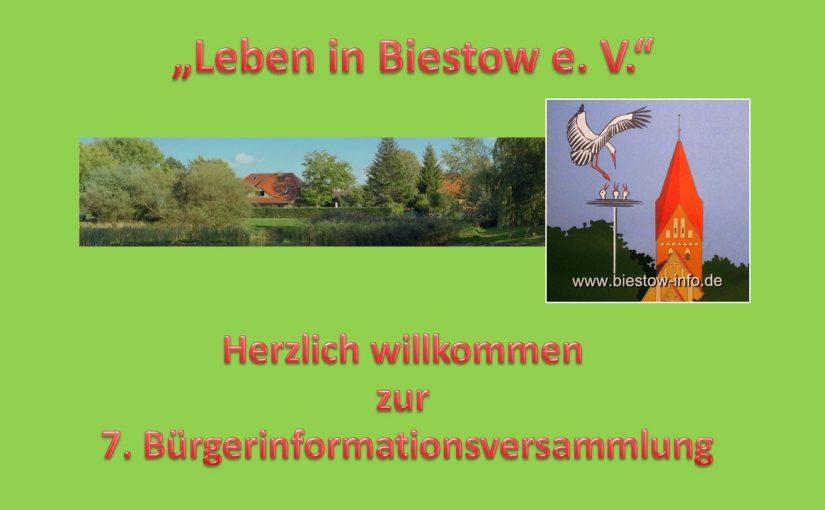 8. Bürgerinformationsveranstaltung unseres Vereins am 19.11.2018 im Bauernhaus Biestow